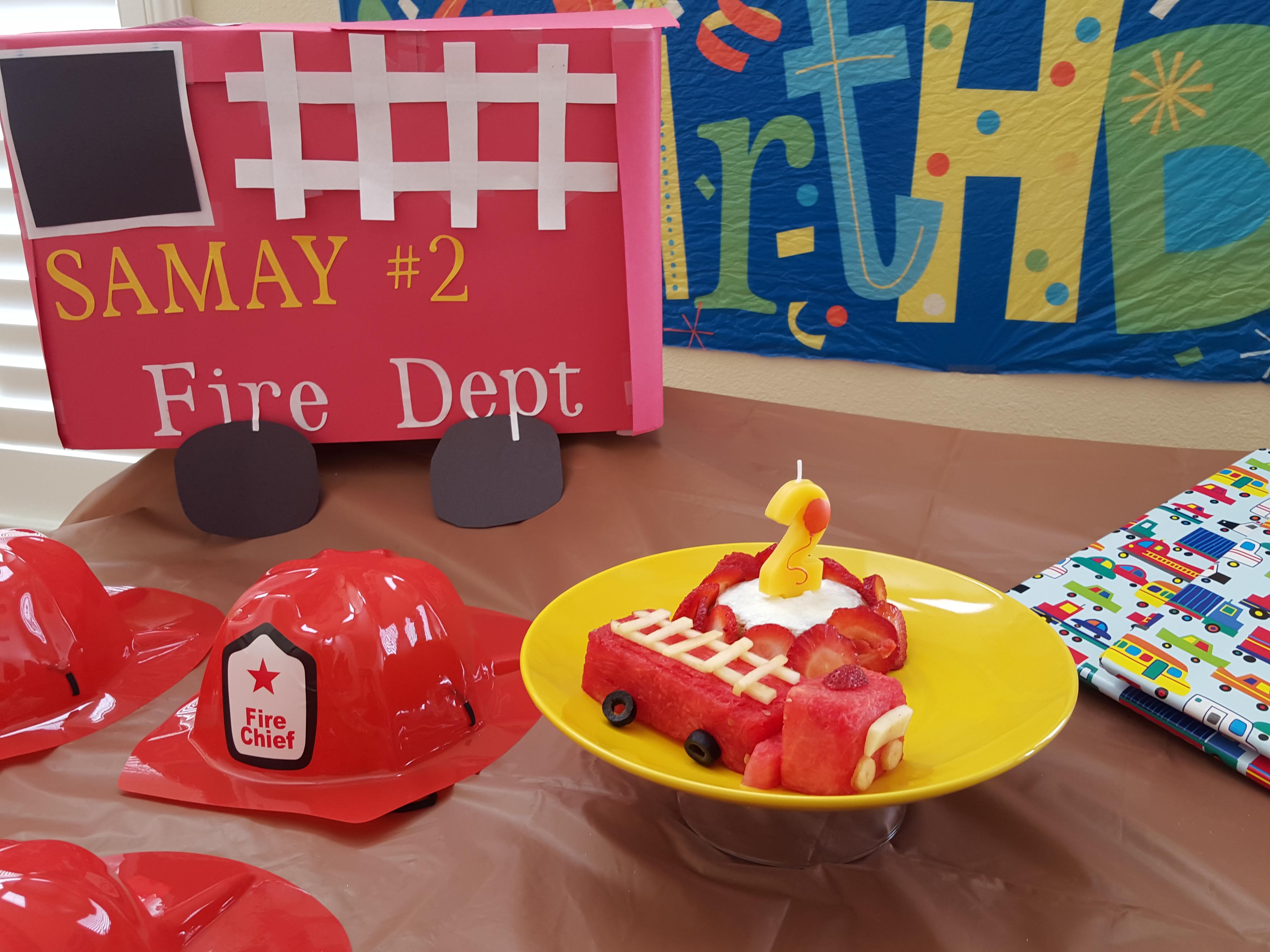 Baby S turns 2 - Fire Engine theme birthday cake
