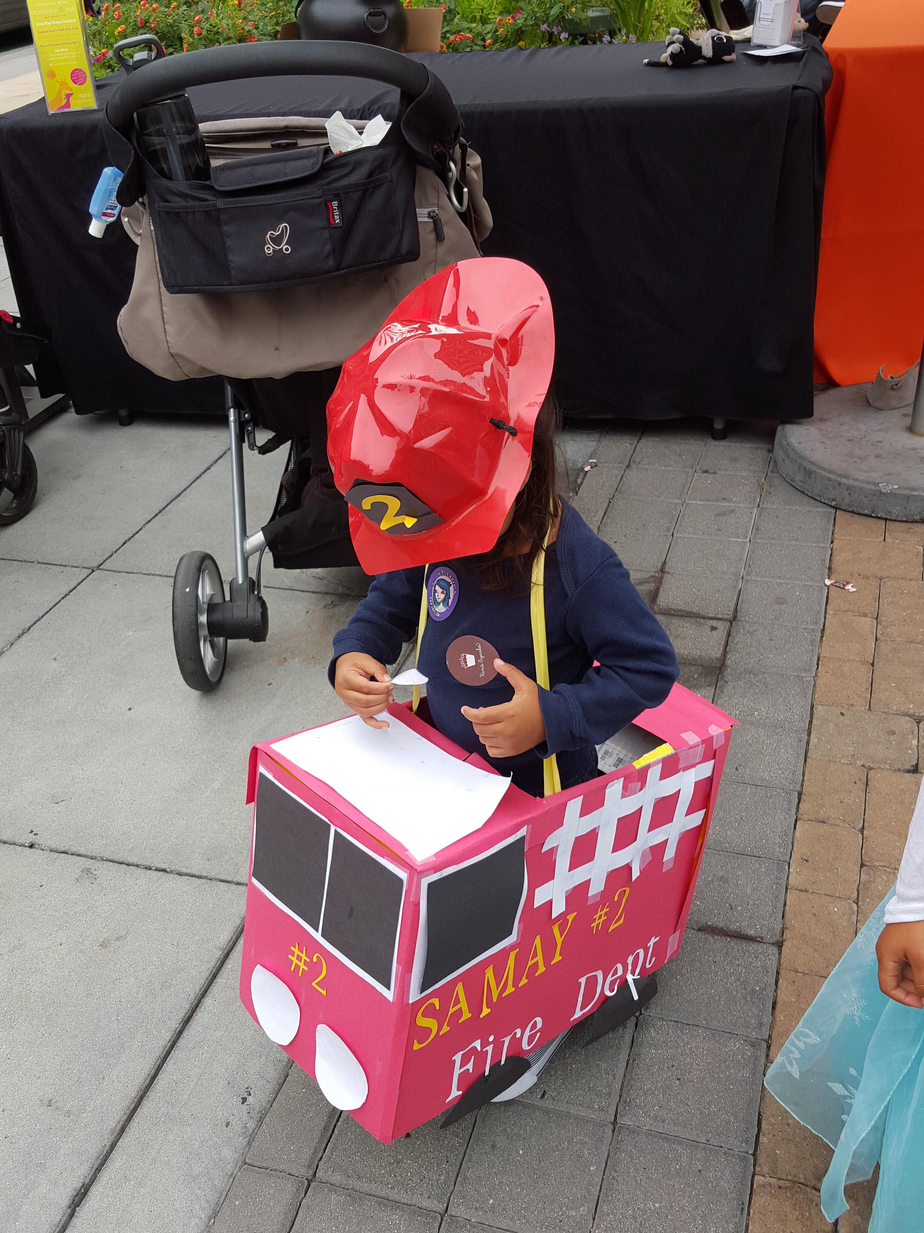 Baby S turns 2 - Fire Engine theme birthday costume
