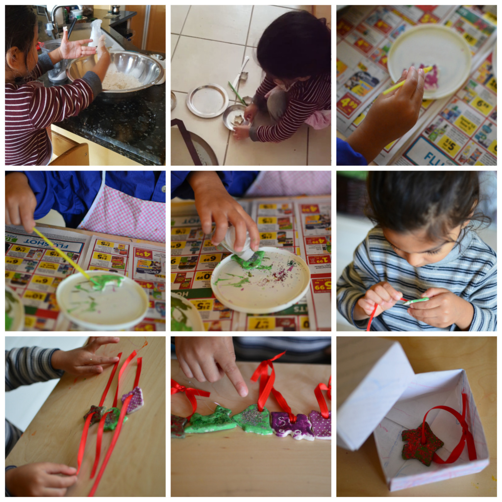 DIY Christmas ornaments from salt dough, a three day Toddler activity