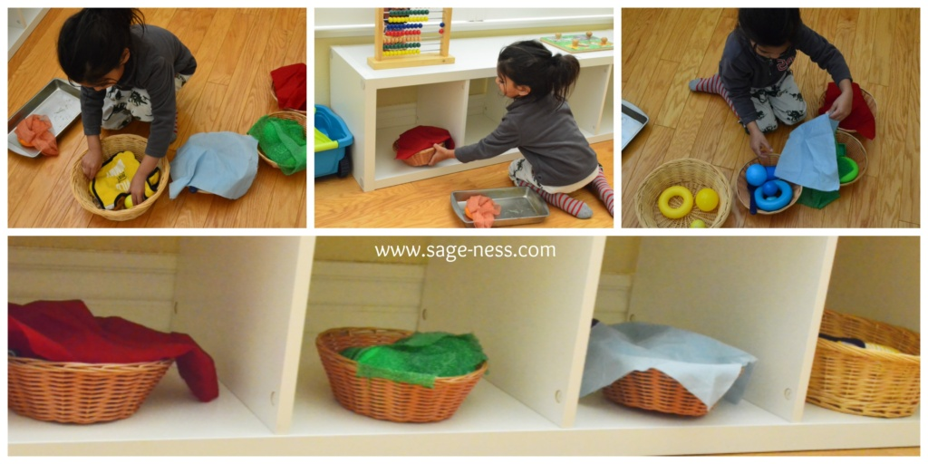 Montessori with multiples - Toddler S helps set up Montessori Inspired discovery baskets for babies