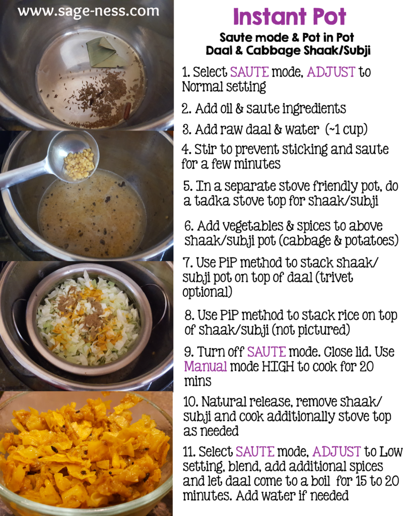 Cooking Daal & Kobi nu shaak in the Instant Pot