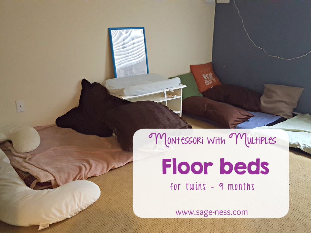 Our current Montessori floor bed setup for the twins