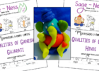 Qualities of Ganesh Montessori 3-part cards, kids activity in Gujarati & Hindi