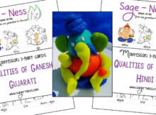 Qualities of Ganesh Montessori 3-part cards, kids activity in Gujarati & Hindi