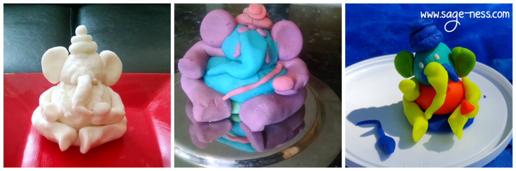 Ganesh murti made from Play dough, toddler activity