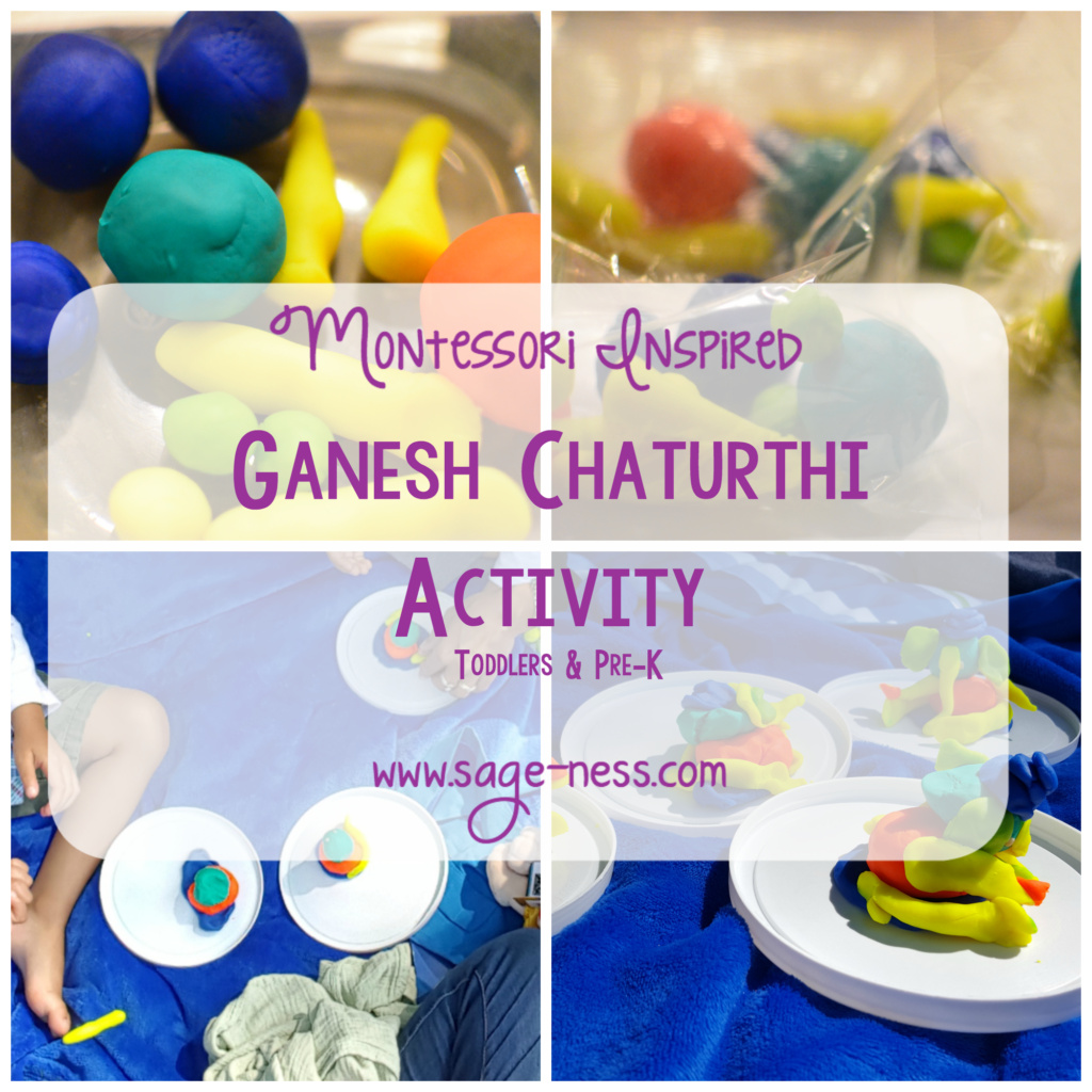 Montessori Inspired Hindu Ganesh Chaturthi Toddler Activity with Play dough