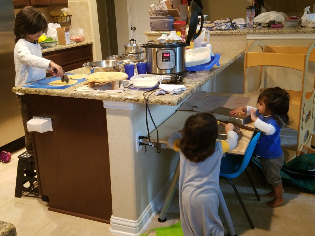 Cooking with Twins and a Big Brother